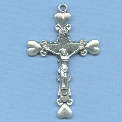 Heart Tipped Crucifix 1 3/4 in.