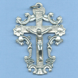Ornate Flower Crucifix 1 3/4 in.