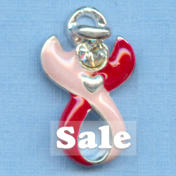 50 Fibromyalgia Guardian Angel Ribbon Charms ~ Swarovski ~ Below Wholesale!!