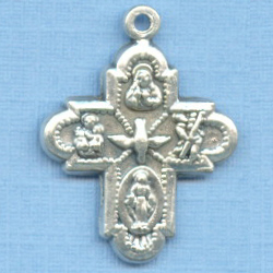 4 Way Silver Tone Bracelet Cross Medal 5/8 in.