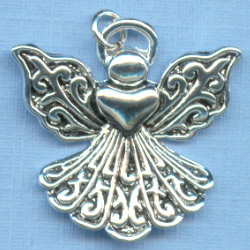 Angel Large Heart Filigree Charm