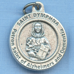 St. Dymphna Round Silver Tone Medal for Alzheimers & Dementia 3/4 in.