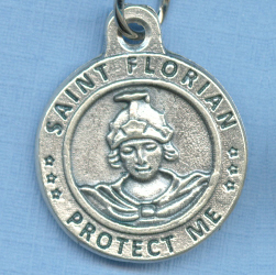 St. Florian Round Silver Tone Medal for Fire Fighters 3/4 in.