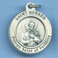 St. Gerard Round Silver Tone Medal for Fertility 3/4 in.