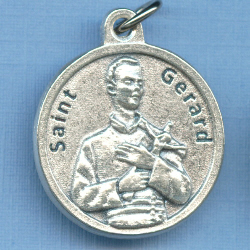 St. Gerard Round Silver Tone Medal for Kids & Fertility 3/4 in.