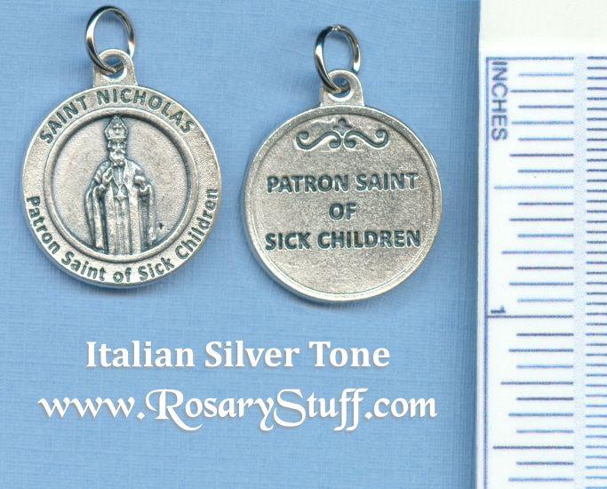 St. Nicholas Round Silver Tone Medal for Sick Children 3/4 in.