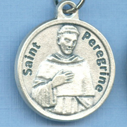 St. Peregrine Round Silver Tone Cancer Prayer Medal 3/4 in.