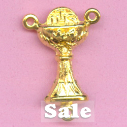 Chalice Rosary Center 7/8 in. ~ Gold