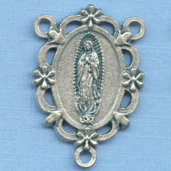 Guadalupe Open/Floral Rosary Center 1 1/4 in.