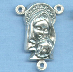 Mary with Baby Jesus & Sacred Heart Rosary Center 7/8 in.
