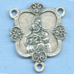 Mary with Baby Jesus Filigree Heart Rosary Center 1 1/4 in.