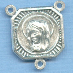 Mary & Christ Double Sided Square Rosary Center 3/4 in.