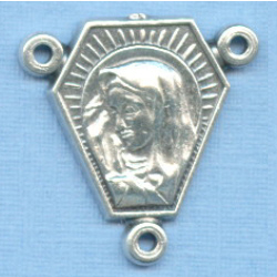 Mary & Christ Double Sided Triangle Rosary Center 3/4 in.