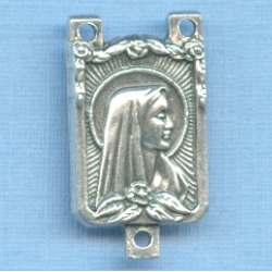 Mary Rectangle Rosary Center 3/4 in.