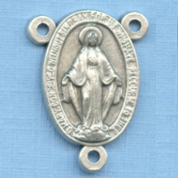 Miraculous Medal #2 Rosary Center 3/4 in.