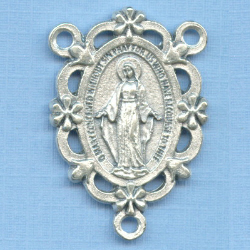 Miraculous Open/Floral Rosary Center 1 1/4 in.