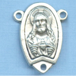 Sacred Heart & Mt Carmel Partial Oval Rosary Center 7/8 in.