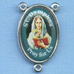 Mary Profile with St Dymphna Photo Rosary Center 1 in. (nervous and mental afflictions)