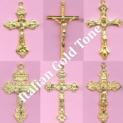 Custom Crucifix Choices: Italian Gold Tone