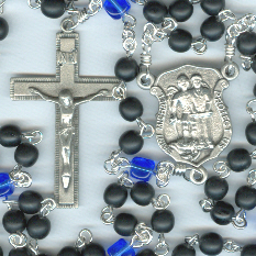 Police Rosary with Matte Jet Black & Sapphire Blue Czech Glass Beads