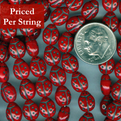 Red Ladybug Shaped Czech Glass Pressed Beads 9x7mm