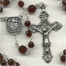 Birthstone: January Czech Glass Rosary ~ GARNET