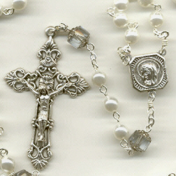 Birthstone: June Czech Glass Rosary ~ ALEXANDRITE/PEARL