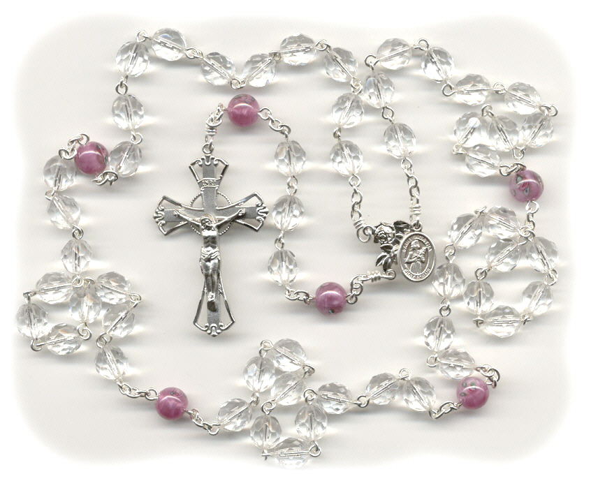Clear & Pink Czech Glass Breast Cancer Rosary  ~ St. Agatha
