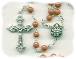 Luster Opaque Orange Round Czech Glass Rosary