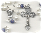 White Pearl and Cobalt Blue Czech Glass Rosary