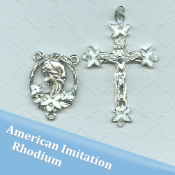 White Lily Rosary Part Set ~ American Imitation Rhodium Finish