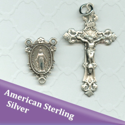 Sterling Silver Miraculous Flowered Rosary Centerpiece with Filigree Crucifix