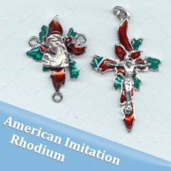 Red & Green Poinsettia Christmas Rosary Part Set ~ American Imitation Rhodium Finish