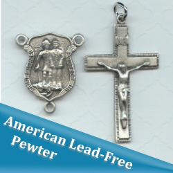 St Michael/Police Center & Crucifix Set ~ Pewter