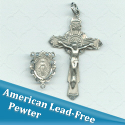 French Ornate Miraculous Scalloped Rosary Part Set ~ American Pewter
