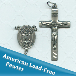 St Michael for Police Oval Double Sided Basic Rosary Part Set ~ American Pewter