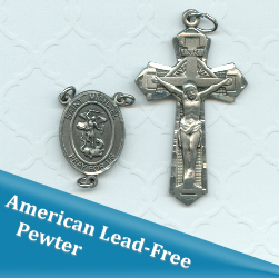 St Michael for Police Oval Double Sided Ornate Rosary Part Crucifix Set ~ American Pewter