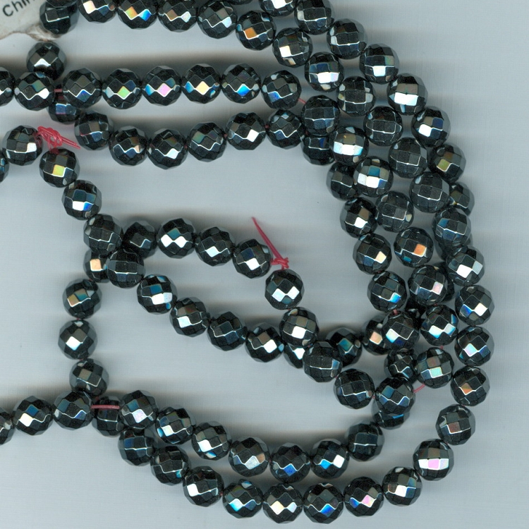 Custom Faceted Hematite 6mm Man Made Stone Rosary
