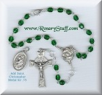 Emerald Green Czech Glass Car Rosary