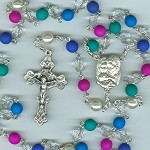 Dark Neon Multi-Colored Czech Glass Holy Family Rosary