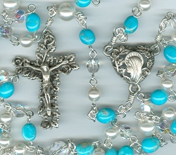 Turquoise Stone, Czech Glass & Swarovski Crystal Rosary ~ One of a kind
