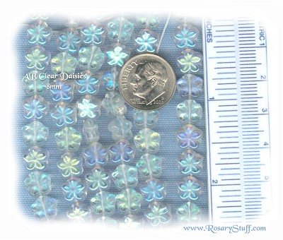 Custom Clear AB 8mm Czech Glass Daisy Flower Rosary