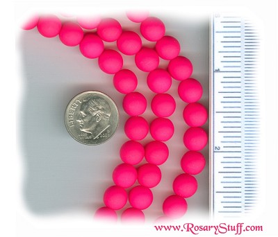 Custom Neon Pink 8mm Czech Glass Rosary