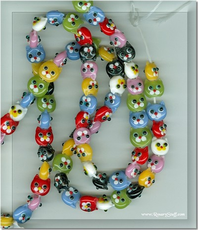 Multi-Colored Lampwork Kitty Cat Beads 11x10mm ~ Custom Rosaries Only