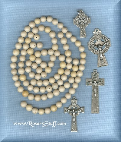 Custom White Ulster Marble 8mm Stone Rosary