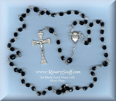 Jet Black Fire Polished Rosary ~ Customizable
