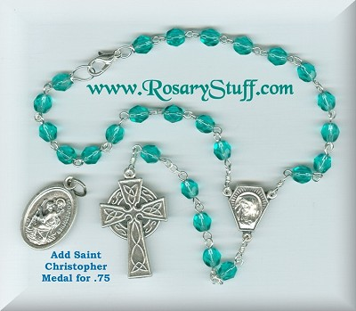 Teal Fire Polished Car Rosary