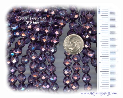 Custom Amethyst Luster Transparent 8mm Fire Polished Czech Glass Rosary