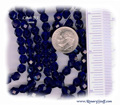 Custom Cobalt Blue 6mm Fire Polished Czech Glass Rosary