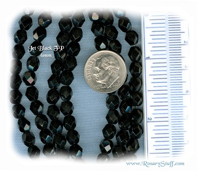 Custom Jet Black 6mm Fire Polished Czech Glass Rosary